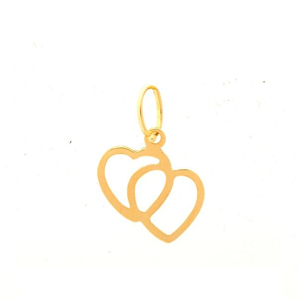 Pingente De Ouro 18k Coração Duplo