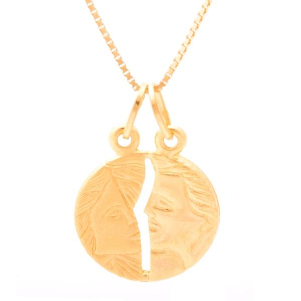 Corrente De Ouro 18k Veneziana De 40cm Com Pingente Cara Metade