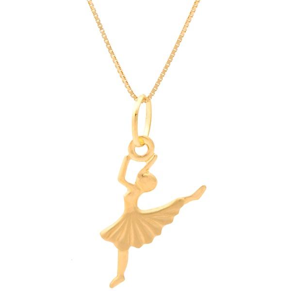 Corrente De Ouro 18k Veneziana De 40cm Com Pingente Bailarina