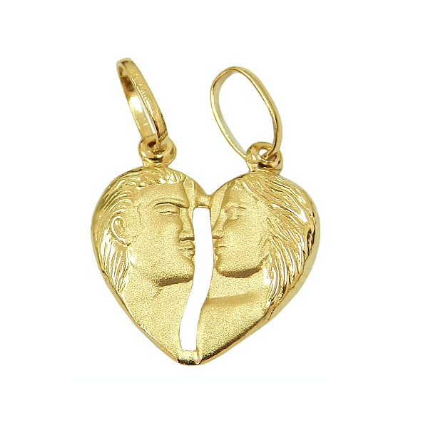 Pingente De Ouro 18k Cara Metade Coração De 12mm