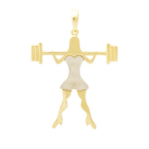 Pingente De Ouro 18k Menina Crossfit