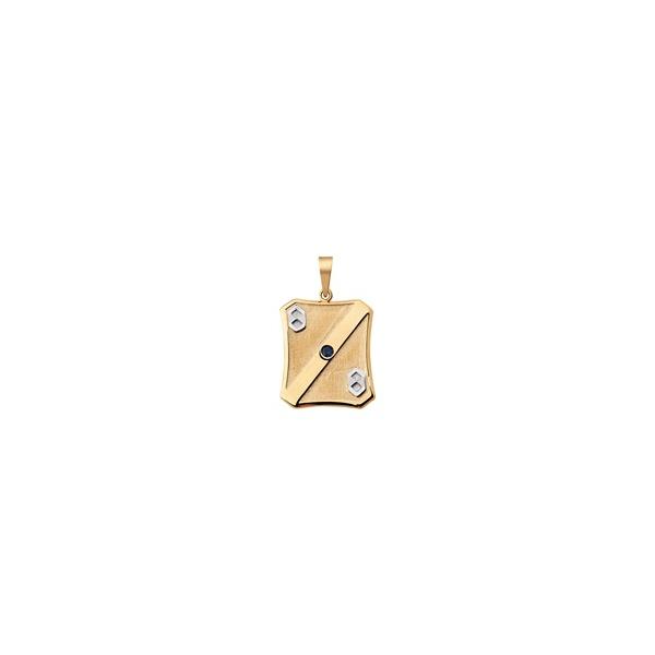 Pingente De Ouro 18k Placa Formatura De Administração Com Zircônia