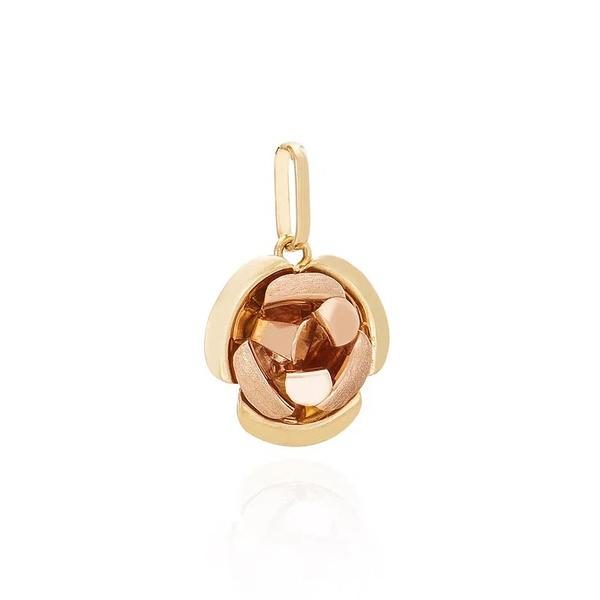 Pingente De Ouro 18k Flor Bicolor Pequena