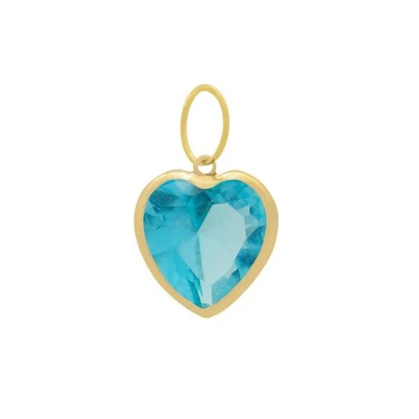 Pingente Ponto De Luz De Ouro 18k Coração Azul Claro De 6mm