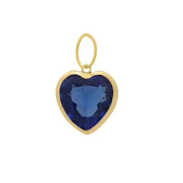 Pingente Ponto De Luz De Ouro 18k Coração Azul Escuro De 6mm