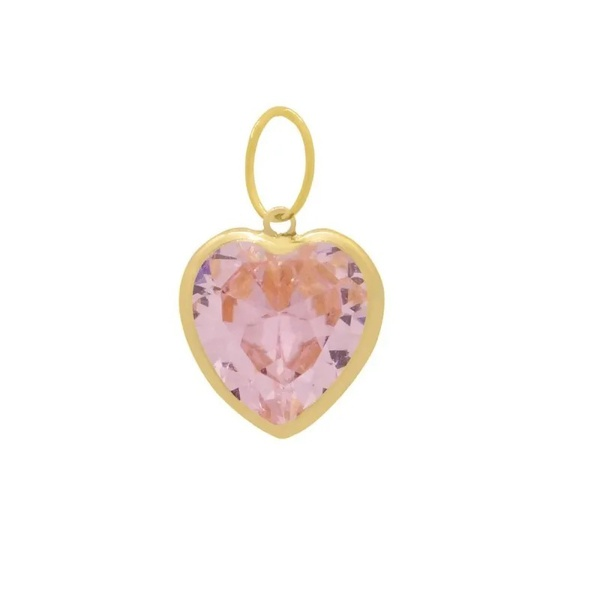 Pingente Ponto De Luz De Ouro 18k Coração Rosa De 6mm