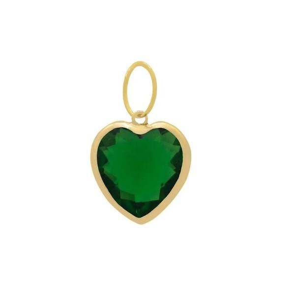 Pingente Ponto De Luz De Ouro 18k Coração Verde De 6mm
