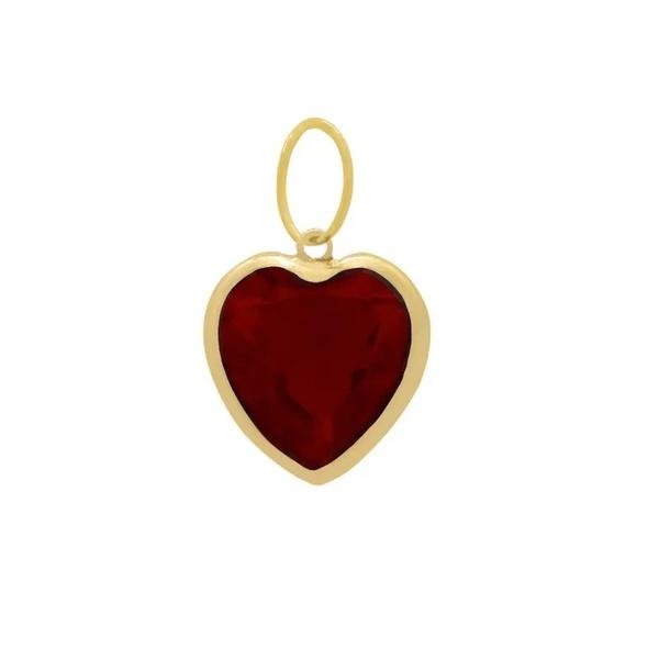 Pingente Ponto De Luz De Ouro 18k Coração Vermelho De 6mm