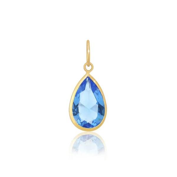 Pingente Ponto De Luz De Ouro 18k Gota Azul Clara de 7mm