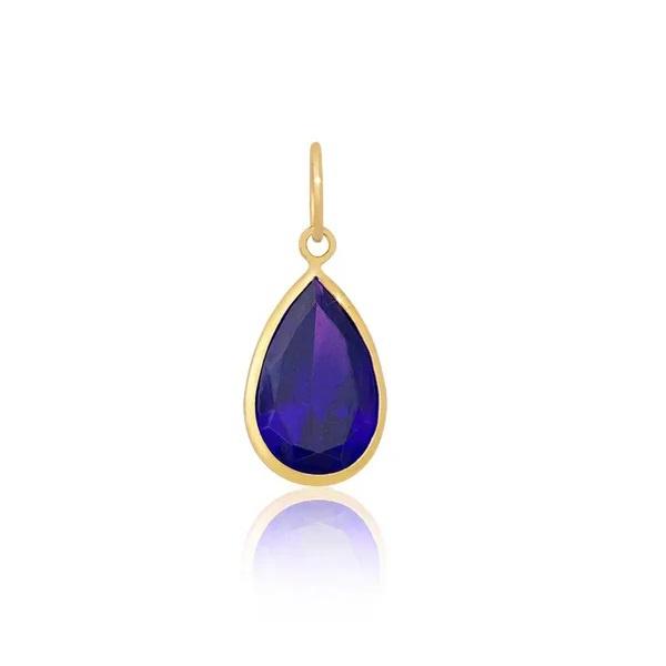 Pingente Ponto De Luz De Ouro 18k Gota Azul Escura de 7mm