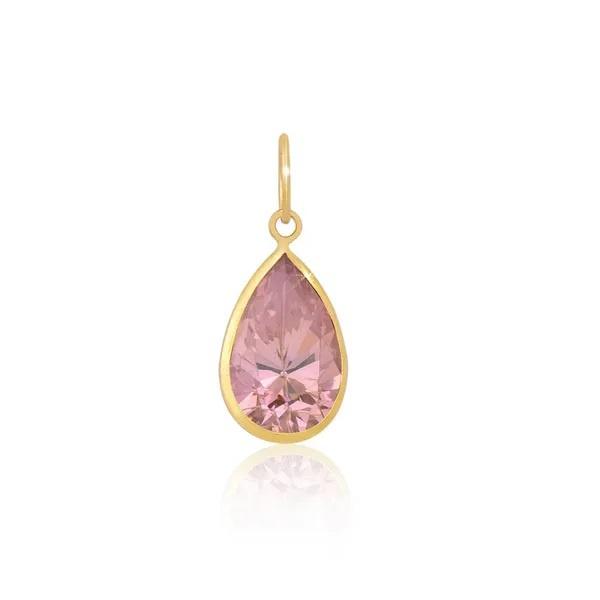 Pingente Ponto De Luz De Ouro 18k Gota Rosa de 7mm