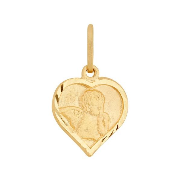 Pingente De Ouro 18k Anjinho Coração