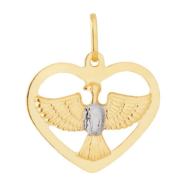 Pingente De Ouro 18k Espírito Santo Com Coração