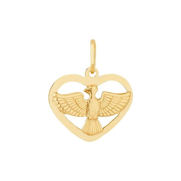 Pingente De Ouro 18k Espírito Santo Com Coração Pequeno