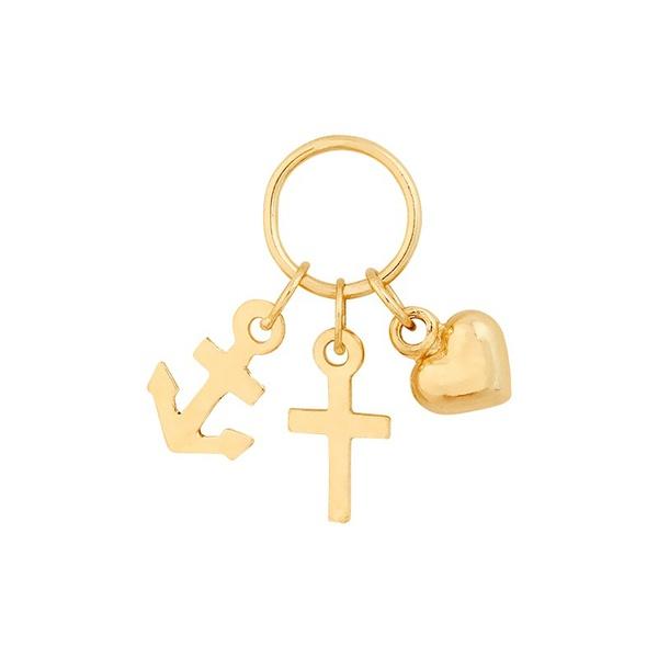 Pingente De Ouro 18k Ancora, Cruz e Coração