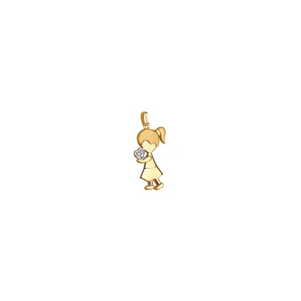 Pingente De Ouro 18k Menina Com Coração