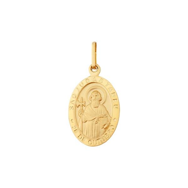 Pingente De Ouro 18k Medalha De São Judas Tadeu Grande
