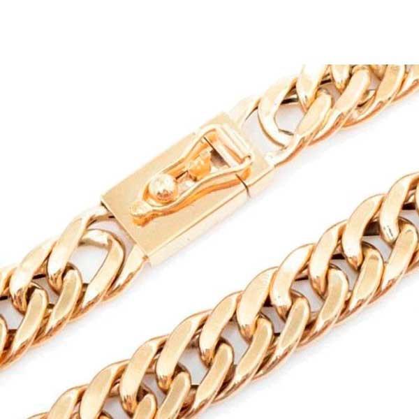 Pulseira De Ouro 18k Groumet Larga De 1 Centímetro Com 18cm