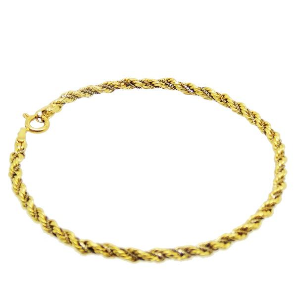 Pulseira De Ouro 18k Corda Bicolor De 3mm Com 18cm