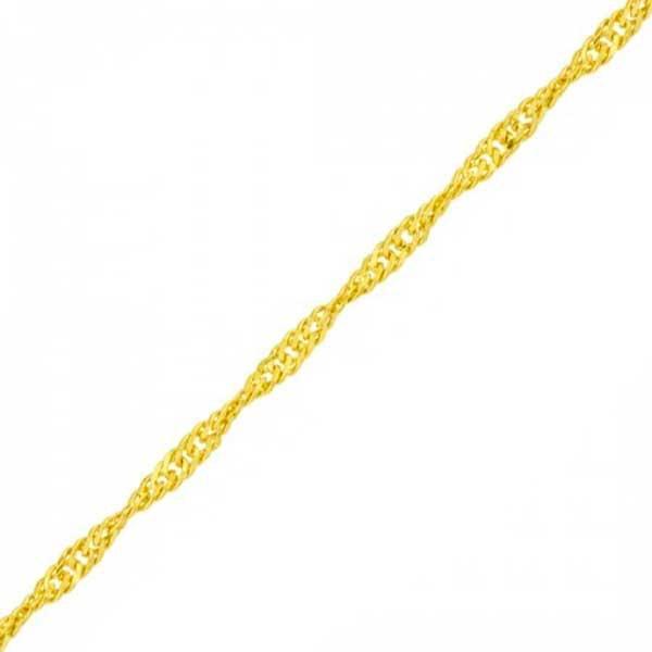 Pulseira De Ouro 18k Singapura De 1,0mm Com 18cm