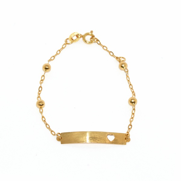 Pulseira Infantil De Ouro 18k Cartie De 13cm Com Bolinhas