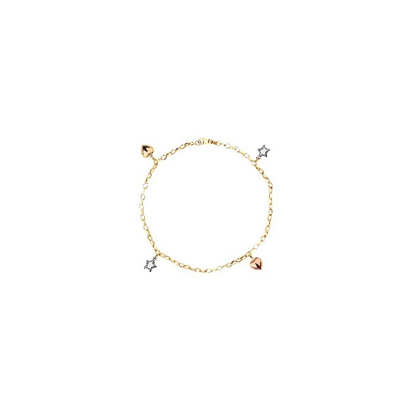 Pulseira de Ouro 18k Corações e Estrelas Tricolor com 19cm