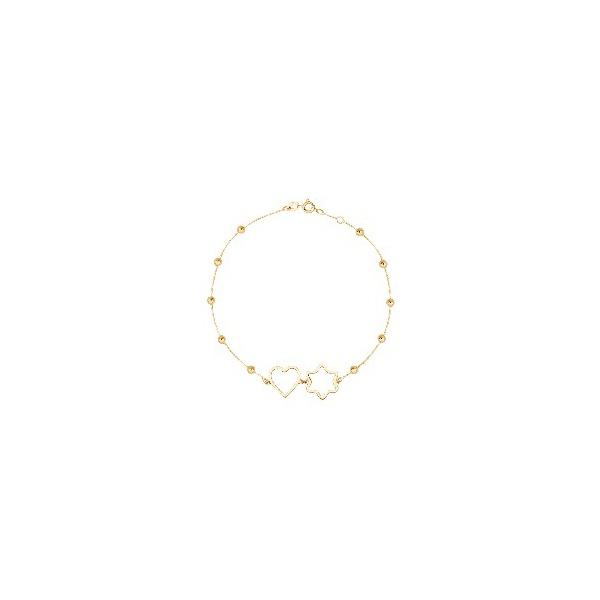 Pulseira de Ouro 18k Bolinhas, Coração e Estrela com 19cm