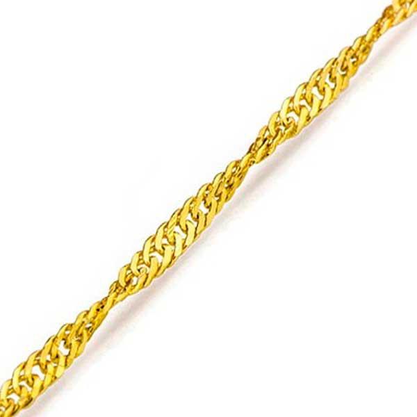 Tornozeleira De Ouro 18k Singapura De 1,0mm Com 24cm