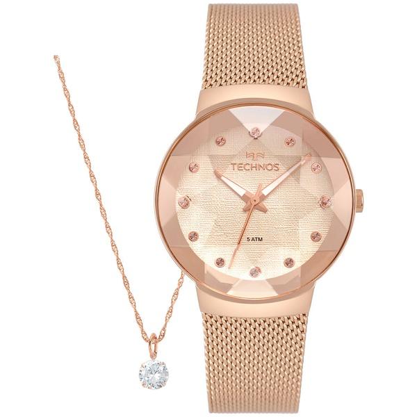 Kit Relógio Technos Feminino Crystal 2035MPX/K5T Rosé