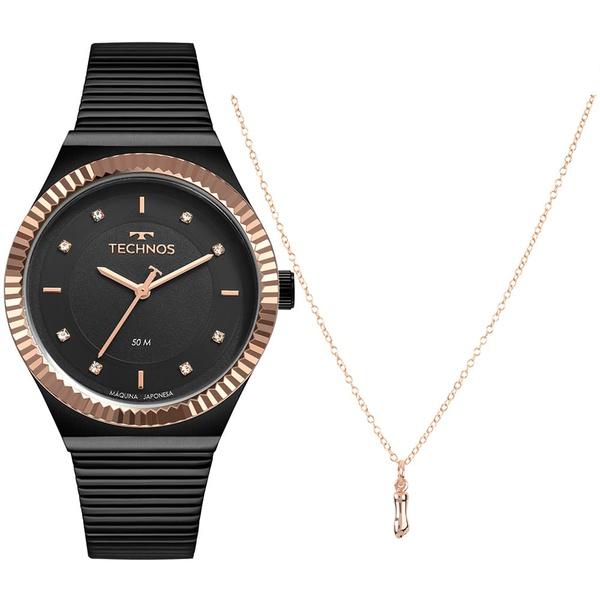 Kit Relógio Technos Feminino Style 2035MRW/K5P Preto