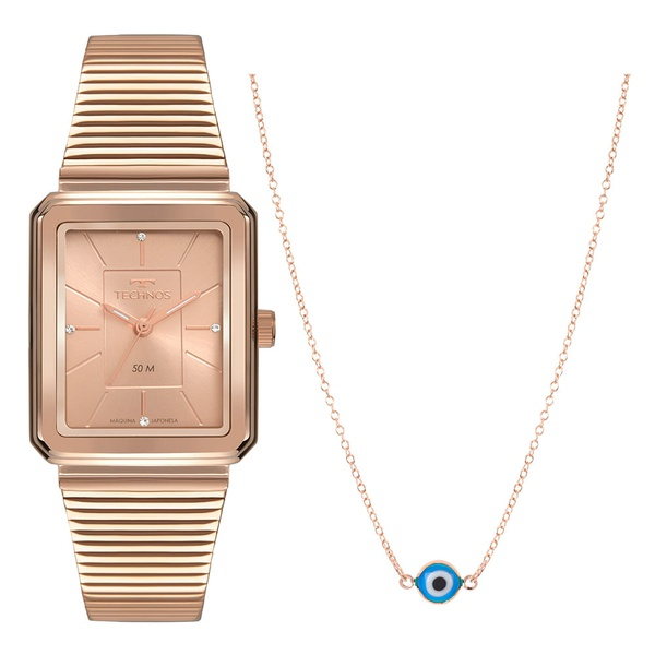 Kit Relógio Technos Feminino Style 2035MSE/K4J Rosé