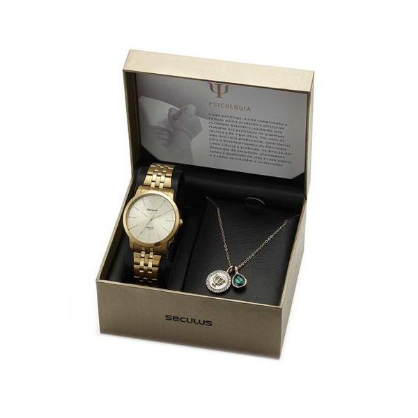 Kit Relógio Seculus Feminino Psicologia 20939LPSKDS1K1 Dourado