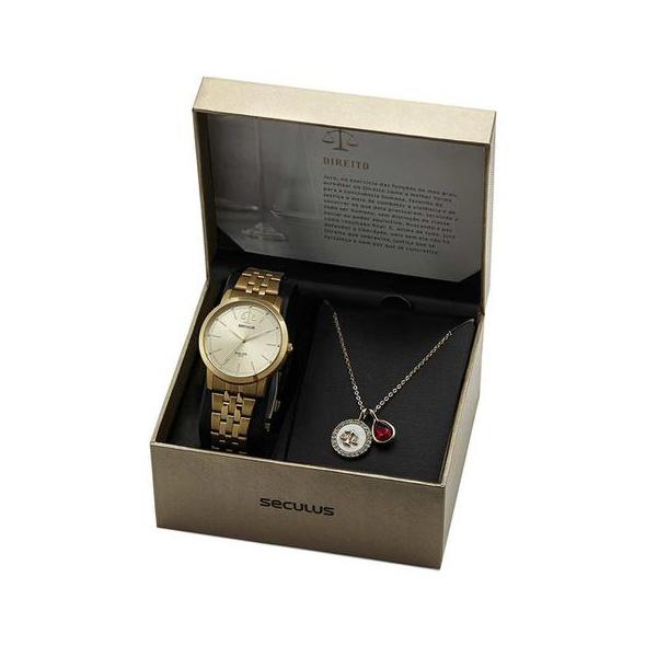 Kit Relógio Seculus Feminino Direito 20940LPSKDS1K1 Dourado