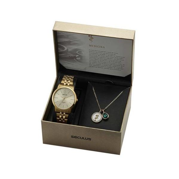 Kit Relógio Seculus Feminino Medicina 20941LPSKDS1K1 Dourado