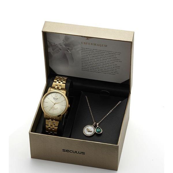 Kit Relógio Seculus Feminino Enfermagem 20943lpskds1k1 Dourado