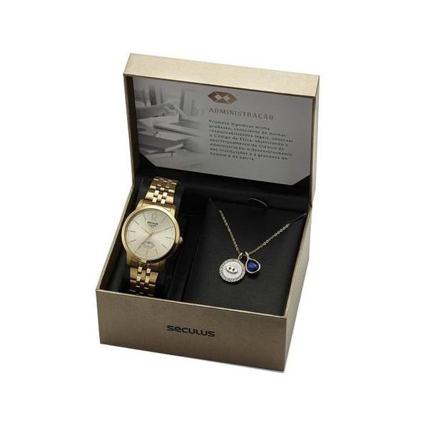 Kit Relógio Seculus Feminino Administração 20944LPSKDS1K1 Dourado