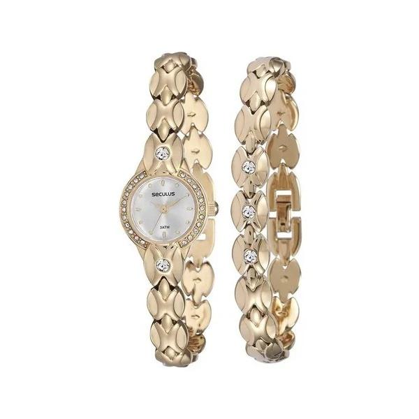 Relógio Seculus Feminino 20455lpskdb1k1 Mini Dourado + Pulseira