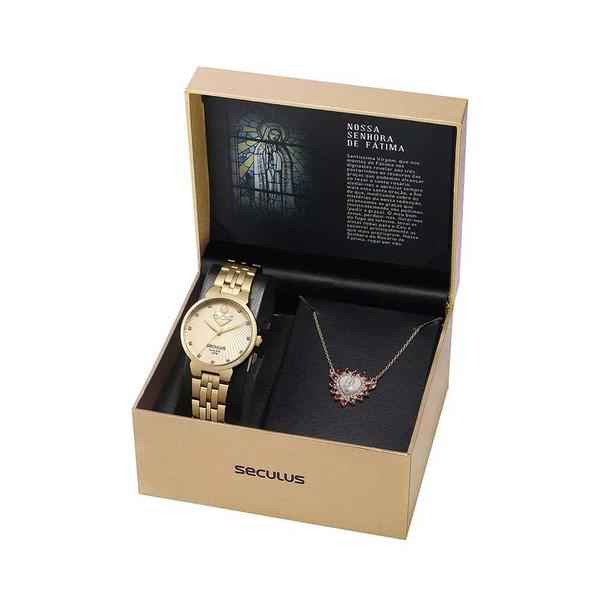 Kit Relógio Seculus Feminino Nossa Senhora De Fátima 35007lpskds1k1 Dourado