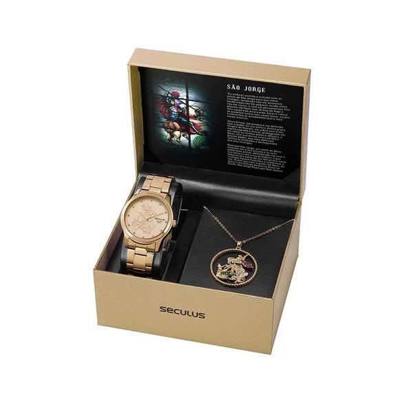 Kit Relógio Seculus Feminino São Jorge 35019lpskda1k1 Dourado