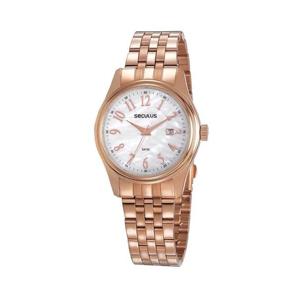 Relógio Seculus Feminino Madrepérola 77049LPSVRS1 Rosé