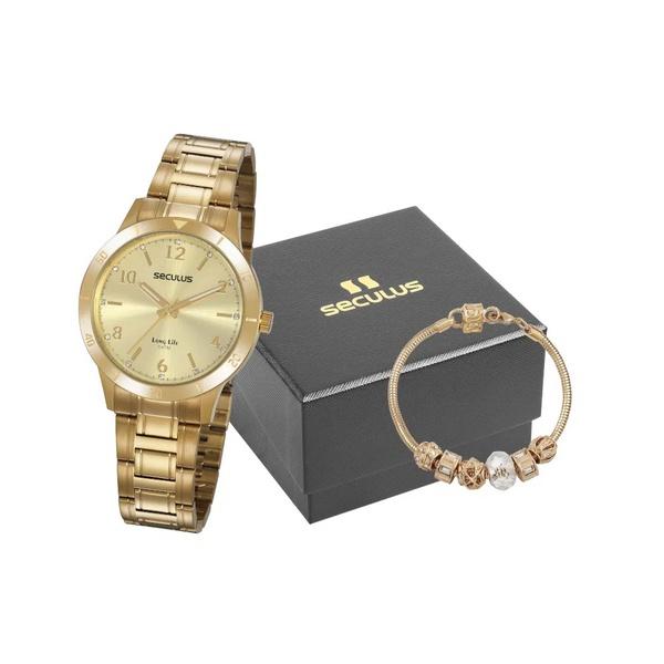 Kit Relógio Seculus Feminino com Pulseira 20887LPSVDA2K2 Dourado