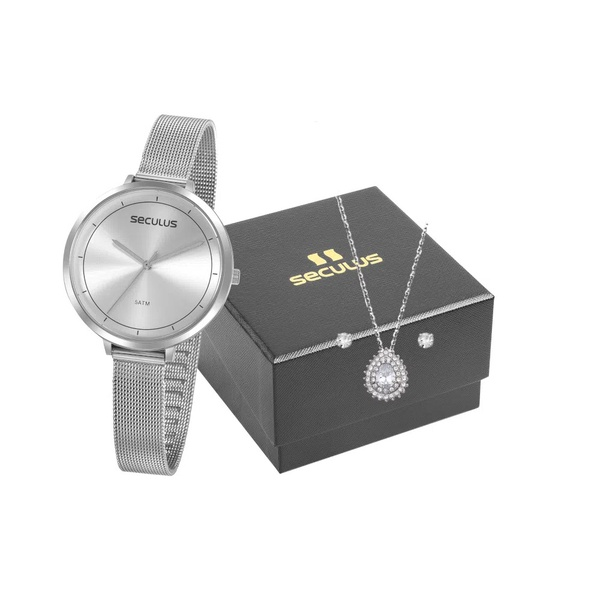 Kit Relógio Seculus Feminino Slim Com Semi Joia 20934l0svns1k1 Prata