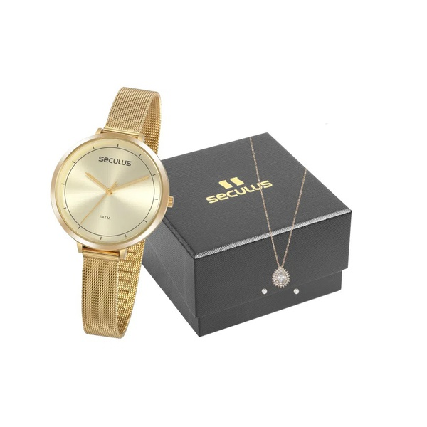 Kit Relógio Seculus Feminino Slim Com Semi Joia 20934lpsvds2k1 Dourado