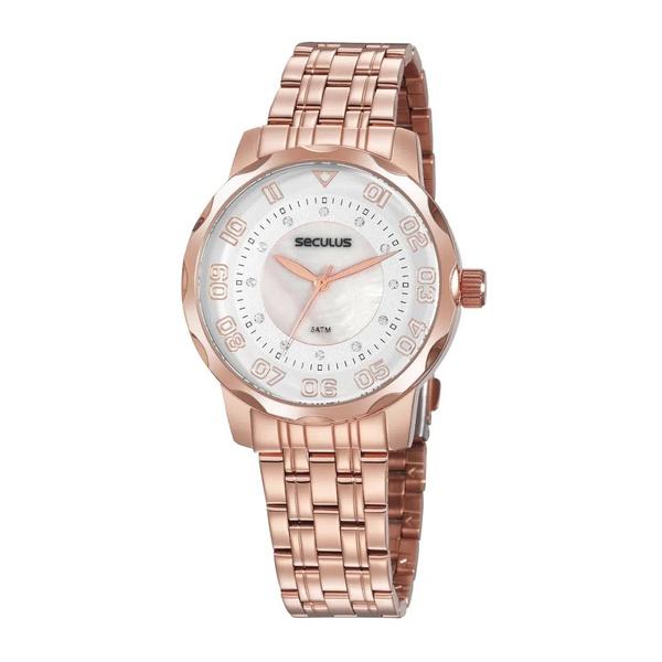 Relógio Seculus Feminino Madrepérola 20935lpsvrs3 Rosé