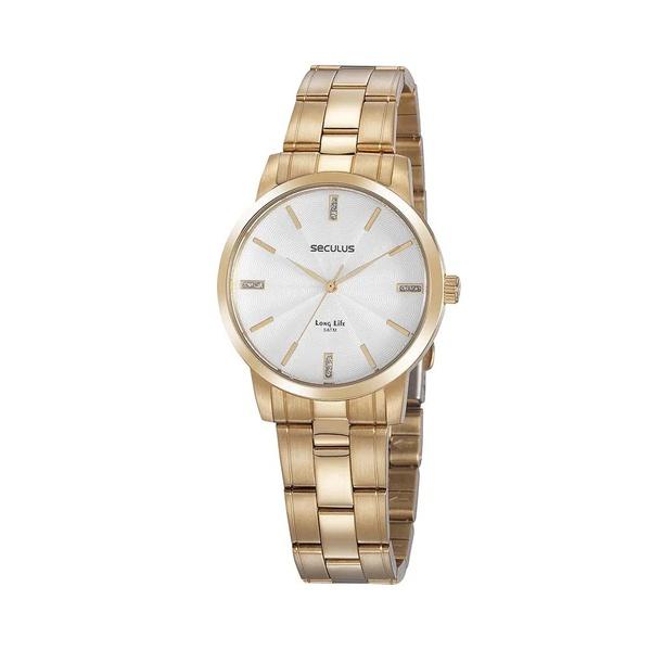 Relógio Seculus Feminino Cristais 20865lpsvda1 Dourado