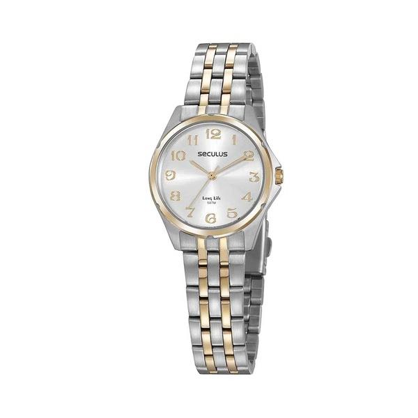 Relógio Seculus Feminino Social 20866lpsvba2 Prata e Dourado