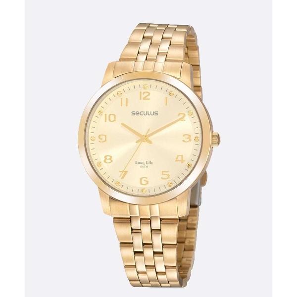 Relógio Seculus Feminino Strass 20895LPSVDA1 Dourado
