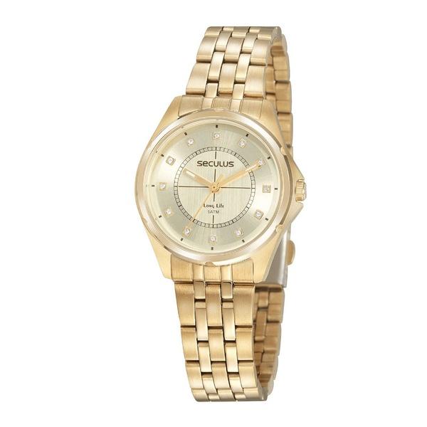 Relógio Seculus Feminino Madrepérola 20896lpsvda1 Dourado