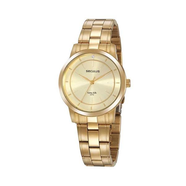 Relógio Seculus Feminino Cristal 20918lpsvda1 Dourado