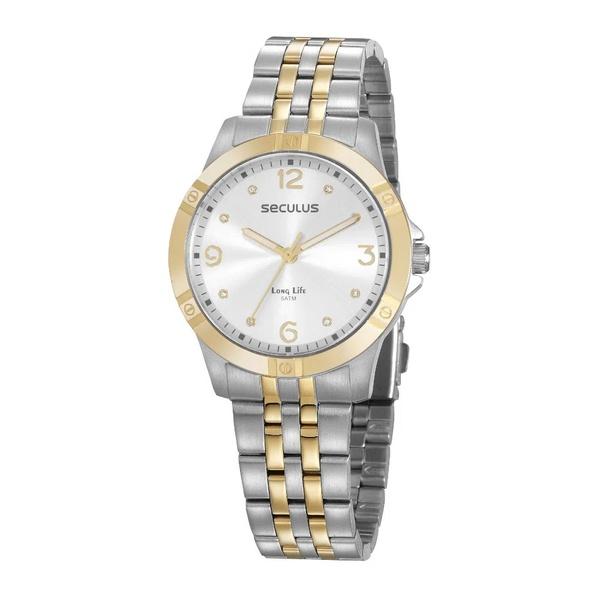 Relógio Seculus Feminino Cristais 20949LPSVBA1 Prata e Dourado